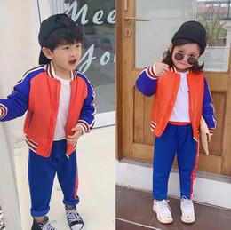Nuovi articoli autunnali set di abbigliamento per bambine per neonato set di abbigliamento per giacca blazer di colore arancione blu da