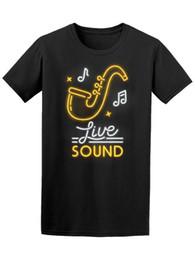 2019 hommes enseignes au néon Néon Sign Live Sound Jazz Hommes Tee -Image De T-shirt En Gros promotion hommes enseignes au néon