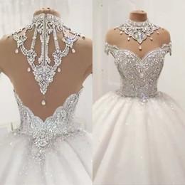 Нестандартные алмазы онлайн-Роскошные Свадебные платья бальные Sheer Cap рукава Тюль Diamond Crystal бисера Плюс размер платья принцессы Puffy сшитое Свадебный Люкс