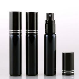Caja de metal vacía online-10 ML Botella de perfume recargable de vidrio UV negro portátil con atomizador de aluminio Estuche Parfum vacío con Tangent Cove PPA326
