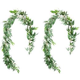 2019 kunststoff-lametta 5.6 Feet Willow Blätter Garland, Artificial Greenery Hochzeit Vines Kunstblumenkranz Hochzeit Kulisse, Begrünung Tischläufer, Ar