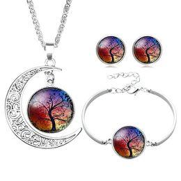 Argentina New Tree of Life Juegos de joyas de Cristal Cabochon Moon Time Gemstone Collares pendientes Pulsera Stud Pendientes Para las mujeres Joyería de Moda Regalo Suministro