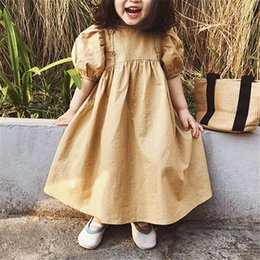 wholesale little girls ruffle shorts Coupons - New INS Little Girls Dresses A-line Short Puff Sleeve Back Button Blank Girls Casual Dress Pure Cotton Quality Children Clothing Outfits