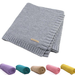 infant boy bath Promo Codes - Baby Swaddle Blanket Knit Soft Wrap Stroller Blankets for Infant Girls Boys Cribs Bath Towel Infant Newborn Stroller Wrap