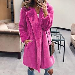 modelos femeninos delgados negros Rebajas De gran tamaño S-3XL de la piel de imitación del oso de peluche capa de la chaqueta de las mujeres abierto de la manera de la puntada de invierno con capucha capa femenina de manga larga chaqueta Fuzzy