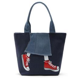 Cartera de dibujos animados online-Nuevas Mujeres Messenger Bags Lady Canvas Cartoon Denim Falda Impreso Bolsas de Hombro Gran Capacidad Bolsos Femeninos Casual