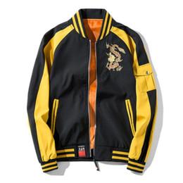 abrigos de dragón Rebajas Nueva primavera otoño chaquetas para hombre 2018 nuevo hip hop chándal abrigo moda bordado dragón casual Streetwear hombre chaqueta de béisbol