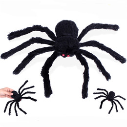 realistische spielzeugspinnen Rabatt 30cm Realistische Hairy Black Spider-Plüsch-Spielzeug-Halloween-Party Scary Dekoration Haunted House Prop Indoor Outdoor-Yard-Dekor JK1909