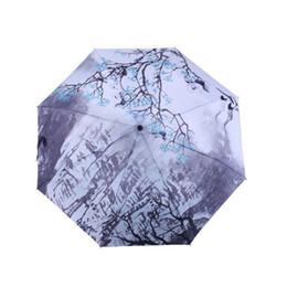 DINIWELL Pintura A Prova D 'Água UV Proteger Umbrella Três Dobrável Plum Blossom Pintura Parasol Ensolarado E Chuvoso Guarda-chuva Para As Mulheres de