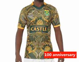 Ventas calientes 2019 Sudáfrica 100 años Jersey de camiseta Selección sudafricana Camisetas de rugby Camisetas 100 aniversario Camiseta s-3xl desde fabricantes