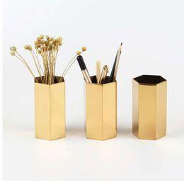 Ornement de bureau de stockage de papeterie de récipient en acier inoxydable 430 de stylo en métal d'or 430 ? partir de fabricateur