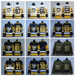 jersey di ghiaccio nero di fil kessel Sconti 17-18 Pittsburgh Penguins 87 Sidney Crosby Jersey AD 71 Evgeni Malkin Phil Kessel Maglie da hockey Ghiaccio Nero Bianco 72 Patric Hornqvist