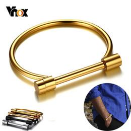 joyas en forma de d Rebajas Vnox elegante tornillo del brazalete para hombres mujeres de acero inoxidable Gent horseshoe D Shape Cuff Bracelets Simple Candid Jewelry Accesorio