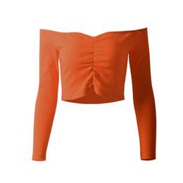 Короткие без бретелек онлайн-Women Hot Sell Slim Long Sleeve Tops One Shoulder Strapless Shoulder Short Clothing Female Solid Color Tee