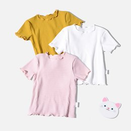 c232819b56 Baby Girls Solid Color Simper Basic Shirt Summer Kids Short Sleeve Tops  Children Casual Clothes Ribbed Striped Blouse Tees Y19051003