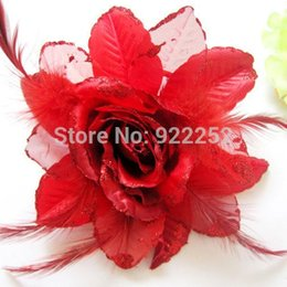 large flower corsage brooch Promo Codes - Large Fabric Artificial Silk Glitter Roses,feather with Pin,Elastic Cord,flower girl hair wreath,wrist corsages,Wedding brooch