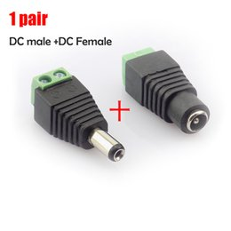 jack connector mm Promo Codes - 2.1x5.5 mm DC Male + Female plug Connector power supply jack adapter BNC for CCTV camera LED strip lamp lighting light