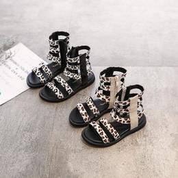 Léopard sandales gladiateur en Ligne-2019 été filles sandales mode enfants léopard kinder sandalen chaussures gladiator