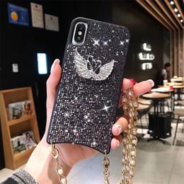 2019 étuis iphone pearl bling Diamant Dur En Plastique PC Case Pour Iphone XS Max XR 8 7 6 Plus Shinnig Swan Téléphone Cas Avec Metal Pearl Chain Bling Cas promotion étuis iphone pearl bling