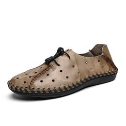 Loafer stilvolle beiläufige schuhe online-Männer echtes Leder Loafer Stilvolle Mesh-Breathable Handgemachte Schuhwandern Reise im Freien weicher Boden fest Freizeitschuh
