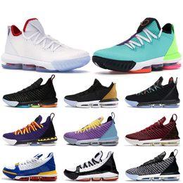 Tênis de basquete 16 on-line-Nova lebron 15 16 XVI tênis de basquete Low All Stars Projeto Guardiões do Dia do Esporte Sneakers Igualdade Trono Martin Lakers SuperBron Preto