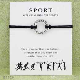 2019 braccialetto d'argento delle donne d'argento New Silver Tone Circle Volleyball Charm Bracciali Bangles Women Girls Wristband Amicizia regolabile Infinity Wish Jewelry con la carta A388 sconti braccialetto d'argento delle donne d'argento