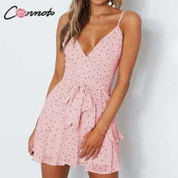 Argentina Conmoto Polka Dot Pink Summer Mujer Volantes Chiffhon Beach Vestidos de mujer Correa de Espagueti Sexy Mini Vestido Vestidos Q190507 supplier mini pink beach dress Suministro