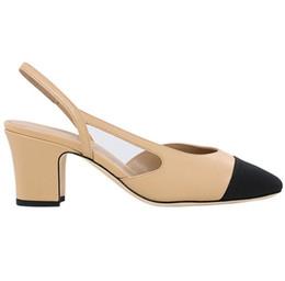 2019 sapatos de casamento de salto largo Senhoras marca de moda designer de sapatos casuais quadrado cabeça cor combinando sapatos de salto grosso nobre vestido de jantar sandálias