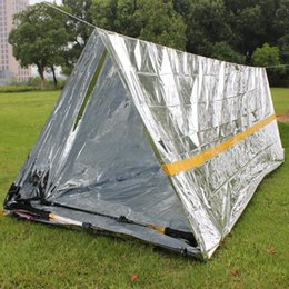 wholesale survival tent Promo Codes - Outdoor Tents Sheelters 240*160cm Waterproof Sliver Mylar Thermal Survival Shelter Emergency shelter for Camping tent Sporting Outdoor