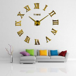 Grandes horloges murales pour le salon en Ligne-47inch Promotion New Home Decor Grand Miroir romain Mode moderne horloges à quartz Salon de bricolage Horloge murale Sticker Montre