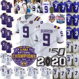 camisas de rugby da faculdade Desconto 2020 LSU Tigers BURREAUX Campeões Jersey 9 Joe Burrow 150º 3 Odell Beckham Jr. 7 Tyrann Mathieu Grant Delpit Ja'Marr JaMarr perseguição Apelido