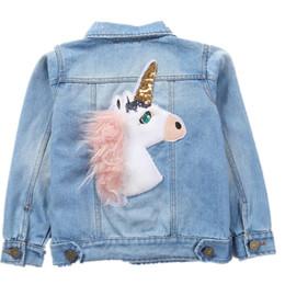 Abrigo de arcoiris niños online-Teenmiro Unicorn Denim Chaquetas para niñas Prendas de abrigo Ropa para niños Rompevientos Rainbow Baby Kids Abrigos de vaquero Otoño Primavera