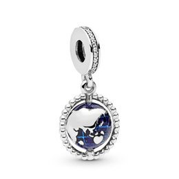 Charme giratório on-line-New Authentic Spinning 925 Sterling Silver Charm azul do esmalte Globo Com World Map Pendant Bead Fit Marca Charm Bracelet Bangle DIY jóias