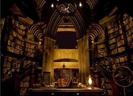 7x5ft Гарри Поттер Хогвартс каменная стена библиотека книги шкаф пользовательские фотостудия фон фон винил 220см x 150см от