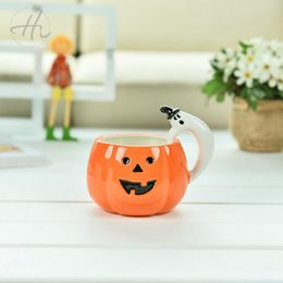 mug shots Promo Codes - Pumpkin Ceramic Mug with Ghost Handle Halloween Gift Ceramic Water Cups Pumpkin Head Cup 10pcs OOA7281