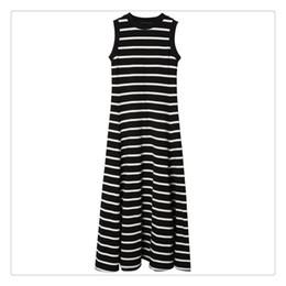 Noite preto vestidos listrados brancos on-line-Vestido de verão sem encosto das mulheres vestidos formais Evening Sexy Ladies Stripes Longo Maxi Evening Preto E Branco Listrado A Line Maxi Dress