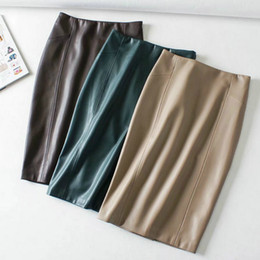 ac6e170a65f Women Sexy Soft PU Leather Pencil Midi Skirt Autumn Ladies Package Hip Back  Split Faux Leather Pencil Skirt Burgundy Green