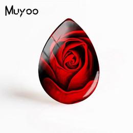 Fiori di rosa cabochon online-2019 New Red Rose Pattern Art Gioielli Fiori Cabochon in vetro romantico Photo Hand Tear Drop Cabochon per le donne