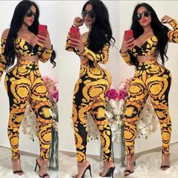 Canada 2019 évider Sexy Bodycon Party Jumpsuit Femmes Slash Neck Pleine Manches Fit Slim Catsuit Automne Hors Épaule Imprimé Body Jaune Offre