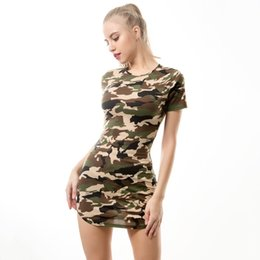 2020 camicie di estate delle signore Abiti da donna 2019 New Summer Sexy T Shirt Mini Dress Ladies Camouflage Casual Night Club Party Bodycon Abiti corti sconti camicie di estate delle signore