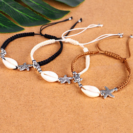 beach charm anklet Coupons - Shells Starfish Turtle Charm Braided Bracelets Anklet Hand Woven Boho Rope Bracelet Surfer Hawaiian Summer Beach Jewelry for Men Women DHL
