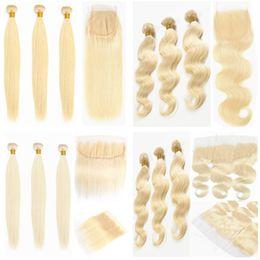 extensiones de cabello rubio ondulado 613 Rebajas Body Wave 613 Paquetes rubios con frontal ondulado Paquetes de cabello humano de la Virgen de Brasil con cierre Remy Extensiones de tejido de cabello remy