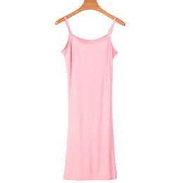 Knielänge rutscht online-Knielange Full Slips Spaghetti Sommer Slip Modal Unterkleid reine Farbe bequeme Kleidung für Frauen