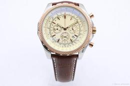 Großer weißer gürtel online-White Dial Net Lünette Big Watch Herren Quarzwerk 6,75 Abendessen Qualität Herren Chronograph Ledergürtel Uhren Armbanduhr
