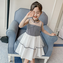 nuevo vestido de verano niña pequeña Rebajas Vestido de verano de las niñas 2019 nuevas niñas sin mangas niña estilo extranjero sin tirantes de moda vestido de princesa