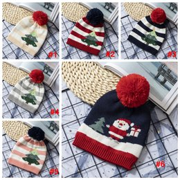Вязаные шапочки онлайн-Children knitting Christmas hat Striped Xmas tree pattern warm hat Winter Outdoor Baby Ski Caps kids Pom Pom Beanies LJJA3533-6