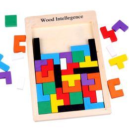 Загадки для детей онлайн-Деревянный Tangram Brain Teaser Головоломки Игрушки Тетрис Игра Дошкольное Magination Интеллектуальные Развивающие Детские Игрушки Подарок пользу FFA2078