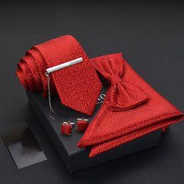 Pajarita roja de paisley online-Conjunto de corbatas para hombre Pañuelo con corbata de lujo Corbata de lazo Gemelos Hombre rojo Paisley Jacquard Tejido Fiesta de boda Corbata Gravata