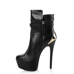 Стильные ботинки онлайн-Новые стильные зимние сапоги женские на танкетке с акульим замком Ремень сгиба пальца ноги женские рыцарские ботфорты