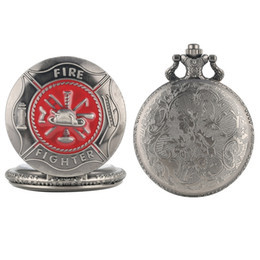 firefighter pendant Coupons - Gray Red Fire Fighter Symbol Carving Pocket Watch Steampunk Firefighter Cover Quartz Watch Fireman Pendant Gift Necklace Chain